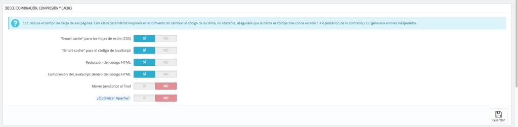 Comprimir html, css y js Prestashop